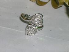 Heart Diamond Promise Right Hand Ring Womens Vintage Estate 14k White Gold 2