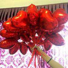 10x Red Heart Foil Helium Balloons Valentines Day Wedding Engagement Decorations