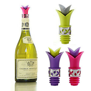 Wine Oil Pourer & Stopper Party Cork Anti Spill Silicone Lily 2 in 1 Leak proof