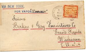 150.  PANAMA  1898  MARITIME cover by Finance Steamship to Michigan…. $55