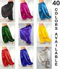 Satin Harem Yoga Pants Genie Aladdin Gypsy Belly Dance Pantaloon Trouser S~3XL