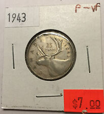 1943 Canadian 25 Cent in FINE to VERY FINE (F-VF) Condition