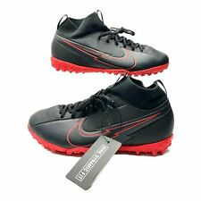 Nike Mercurial Superfly-7 Academy TURF Black Red AT8143-060 Soccer Shoes 4.5Y