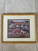 Vintage Charles Wysocki BREAD & BUTTER FARMS Print Framed Pumpkin Patch Fall