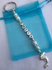 Personalised Dolphin Keyring - Any Name, Girl's Birthday / Easter Gift With Bag