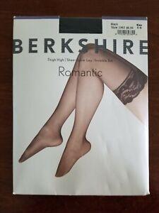 Berkshire Romantic Lace Top Thigh High Black Size C-D Comfort Top style 1363