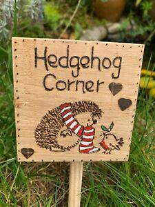 Wooden Garden Hedgehog Sign Solid Recycled Oak