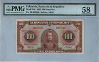 COLOMBIA NOTE BANCO DE LA REPUBLICA $100 ORO 1951 PICK# 394 c PMG AU 58
