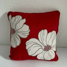 "Home Expressions Pillow Pinkish Red White Flowers Floral Applique 13.5"" Square"