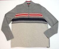 Eddie Bauer Mens XL Sweater 1/4 Zip Neck Nautical Blanket Striped Pull Over