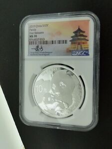 2019 CHINA 10 YUAN SILVER PANDA NGC MS70 FIRST RELEASE HAND SIGNED COIN