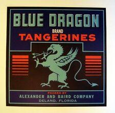 1950s Blue Dragon Tangerine Fruit Crate Label