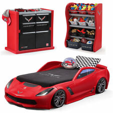 Corvette Kid Bedroom Set Toddler Boy Children Toy Lights Twin Size Bed Frame Red