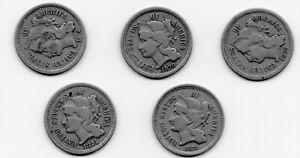 Five three-cent pieces dated 1865, 70, 72, 73, 74, silver coins, wartime year