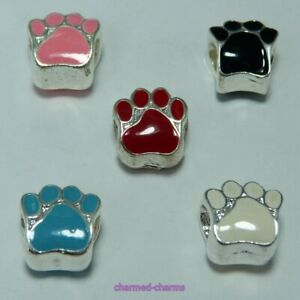 ONE Silver Plated Alloy Enamel Animal Bear Paw 5mm Core Hole Spacer Charm Bead