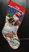 "Vtg wool needlepoint Christmas stocking CASEY w/ snowman & deer fawn 18"""