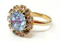 Vintage Blue Rhinestone Gold tone band Ring size 6