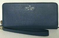 NWT Kate Spade Slim Continental Wallet Blue Leather Ziparound Wristlet WLRU5469