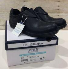 Croft &  Barrow Womens Ortholite Black Loafers comfort Foam Insoles Flexible 6.5