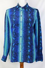 equipment Womens Blue Green Snake Skin Print Button Up Blouse Size Xs Silk