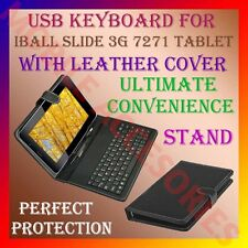 "ACM-USB KEYBOARD FOR IBALL SLIDE 3G 7271 7"" TAB LEATHER CARRY CASE STAND COVER"