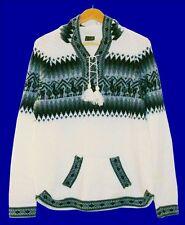 warmer Peru Alpaka Pullover weiß, Gr. XXL 46-48, Inka Alpaca Wolle, Lama Muster