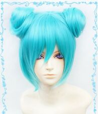 New Fashion Vocaloid Miku Short Green Cosplay Wig+2 Buns Free wig cap