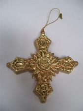 "NIP Christmas Traditions 4"" Paper Mache' Gold CELTIC CROSS CHRISTMAS Ornament"