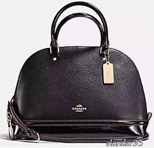 New Coach F54664 Pebble Leather Patent Mixed Sierra Satchel Crossbody Bag Black