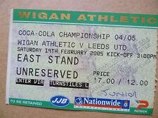 Ticket- WIGAN ATHLETIC v LEEDS UNITED, Coca Cola Championship, 19 February 2005