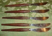 Vintage MCM Lot 4 Knives Mid Century Modern  Holland Wood Handle Flatware SS