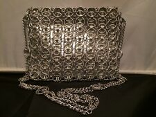 Eye Catching! Vintage Walbarg Silver Metal Chain's over PVC Shoulder Purse