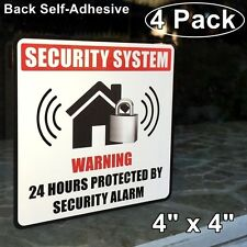 4 Home Security Burglar Alarm System Window Door Warning Vinyl Sticker Decal