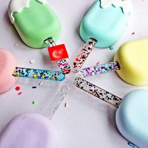 1/10 Pcs Acrylic Ice Cream Sticks Glitter Popsicle Tool Kitchen Model Supplies