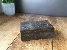 ANTIQUE WOOD LINED CIGAR TIN BOX CASKET RELIEF EMBOSSED CHERUB VICTORIAN DECOR