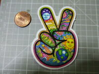 PEACE LOVE SIGN GLOSSY Sticker Skateboard phone Laptop Bombit NEW