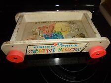 Vintage Wooden Fisher-Price Creative Blocks Wagon~# 161