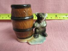"Bear Cub Barrel Match Toothpick Holder 2 1/8"" T Great Dollhouse Collectible M929"