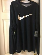 Nike Mens Dri-Fit Cotton Tee-Size Xxl- Long Sleeve-black (standard fit)