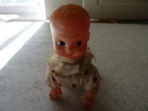Vintage Clockwork Plastic Crawling Baby Doll