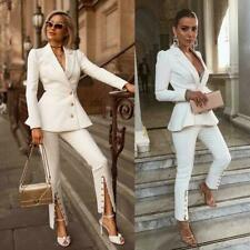 Causal Women's Suit White Business Work Open Button Cuff Video Party Tuxedo Coat