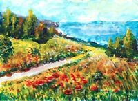 ACEO Italy Poppy field landscape flowers original painting art