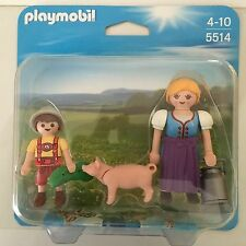 Playmobil 5514 Duo Pack Farmer girl and Boy Granja pig farm NEW BOXED WORLDWIDE