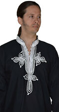 Ethnic Men V Neck Tunic Shirt Summer Cotton Moroccan Casual Fashion Blouse XL