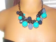 Dana Buchman Chunky TriColor Beaded Necklace Aqua, Navy and Lavender Bronze