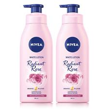 2x350ml Nivea White Body Lotion Radiant Rose Argan Oil Brighting Whitening Glow
