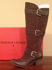 NIB $428 Donald J Pliner DAX-TCOL Expresso Brown Tumble Calf/Oily Suede Boots 9