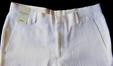 Men's MURANO White LINEN Cuffed Dress Pants 34x30 34 30 NEW NWT S65PM720 Nice!