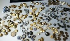 Brass buttons 1.5 lbs+ vintage sewing metal buttons silver and gold tones