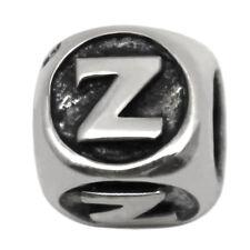 Letter Z Sterling Silver Alphabet Charm Bead for Personalized Bracelet Necklace